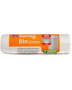 6 x 20 Strong Tie Handle Swing Bin Liners = 120 Bags
